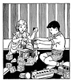 Free Stock Photo: Vintage illustration of a young boy and girl playing with toy blocks