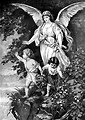 Free Stock Photo: Vintage illustration of an angel with two children