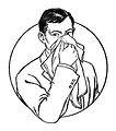 Free Stock Photo: Vintage illustration of a man blowing his nose.