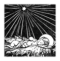Free Stock Photo: Vintage illustration of baby Jesus under a star.