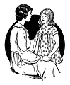 Free Stock Photo: Vintage illustration of a mother talking to her daughter.