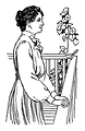 Free Stock Photo: Vintage illustration of a woman standing on a porch