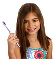 Free Stock Photo: A pretty young girl holding a toothbrush