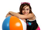 Free Stock Photo: A cute young girl posing with a beach ball