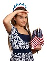 Free Stock Photo: A beautiful young girl dressed for the 4th of July