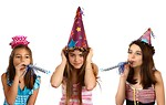 Free Stock Photo: Three young girls celebrating a birthday.