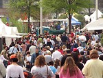 Free Stock Photo: Crowd of people passing by shops at the 2008 Atlanta Dogwood Festival.
