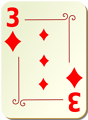 Free Stock Photo: Illustration of a Three of Diamonds playing card