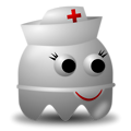 Free Stock Photo: Illustration of an arcade styled nurse ghost with a transparent background.