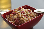 Free Stock Photo: A red bowl of oatmeal