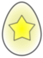 Free Stock Photo: Illustration of an Easter egg painted with a yellow star with a transparent background.