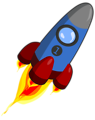 Free Stock Photo: Illustration of a blue rocket