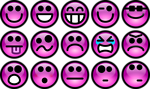 Free Stock Photo: Collection of purple smiley faces with a transparent background.