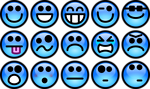 Free Stock Photo: Collection of blue smiley faces