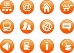 Free Stock Photo: Collection of round orange icon buttons with a transparent background.