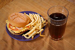 Free Stock Photo: A cheese burger, french fries and a sweet tea.