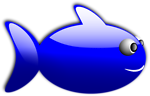 Free Stock Photo: Illustration of a cartoon blue fish