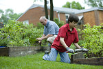 Free Stock Photo: A father and son working in a garden outdoors
