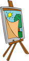 Free Stock Photo: Illustration of a painting on an easel with a transparent background.