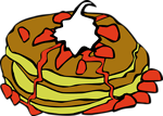 Free Stock Photo: Illustration of strawberry covered pancakes with a transparent background.