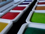 Free Stock Photo: Colored trays of watercolor paint