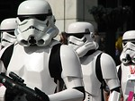 Free Stock Photo: Four stormtrooper costumes in the 2008 Dragoncon parade.