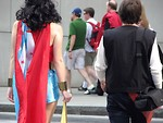Free Stock Photo: Man and woman in superhero costumes crossing street at Dragoncon 2008