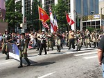 Free Stock Photo: Soldiers marching with flags in the 2008 Dragoncon parade