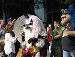Free Stock Photo: A wolf and other animal costumes in the 2008 Dragoncon parade in Atlanta, Georgia.