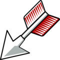 Free Stock Photo: Illustration of a red feathered arrow