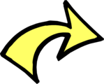 Free Stock Photo: Illustration of a curved right yellow arrow