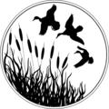 Free Stock Photo: Illustrated silhouette of ducks flying over cat tails.