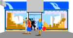 Free Stock Photo: Illustration of people in front of a store