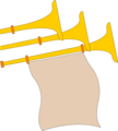 Free Stock Photo: Illustration of golden horns with a blank banner