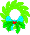 Free Stock Photo: Illustration of a wreath with a blue bow.