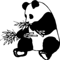 Free Stock Photo: Illustration of a giant panda eating bamboo.