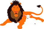 Free Stock Photo: Illustration of a lion and a lamb