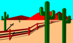 Free Stock Photo: Illustration of a desert landscape with cacti and a fence.