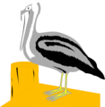 Free Stock Photo: Illustration of a pelican on a dock