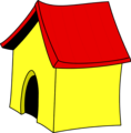 Free Stock Photo: Illustration of a yellow dog house