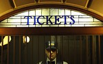 Free Stock Photo: Statue of a man in a ticket booth
