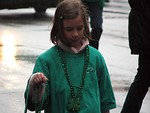 Free Stock Photo: A young girl with beads in the rain in the 2009 Atlanta Saint Patricks Day Parade