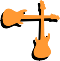 Free Stock Photo: Illustration of an upper right frame corner of orange guitars