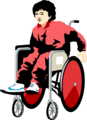 Free Stock Photo: Illustration of a young boy in a wheelchair.