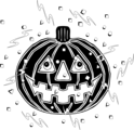 Free Stock Photo: Illustration of a jack-o-lantern and confetti