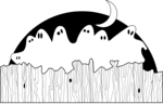 Free Stock Photo: Illustration of ghosts sitting on a fence.