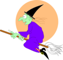 Free Stock Photo: Illustration of a witch flying on a broomstick