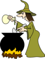 Free Stock Photo: Illustration of a witch cooking witha cauldron.
