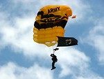 Free Stock Photo: A member of the US Army Golden Knights parachuting at the 2009 Robins AFB Air Show.