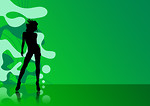 Free Stock Photo: Illustration of a female silhouette on a green abstract background.